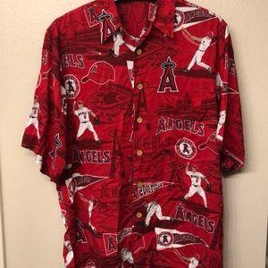 Reyn Spooner Angels Baseball Shirt Size L 2002